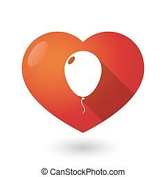 Isolated red heart with a balloon