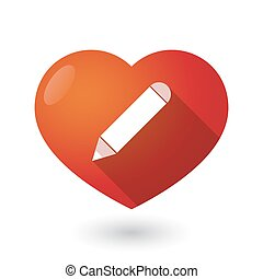 Isolated red heart with a pencil