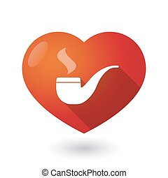 Isolated red heart with a smoking pipe
