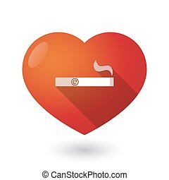 Isolated red heart with an electronic cigarette