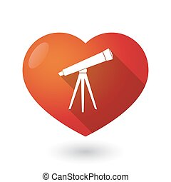 Isolated red heart with a telescope