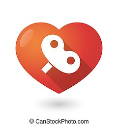 Isolated red heart with a toy crank - Illustration of an...