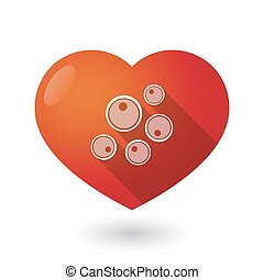 Isolated red heart with oocytes - Illustration of an...