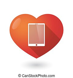 Isolated red heart with a tablet computer