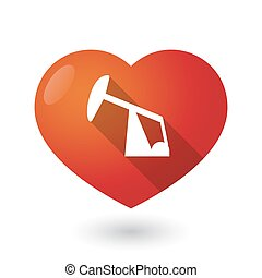 Isolated red heart with a horsehead pump - Illustration of...