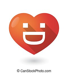 Isolated red heart with a laughing text face