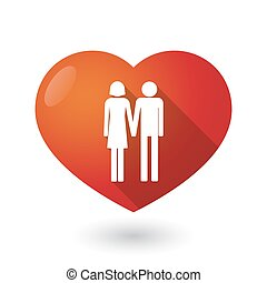 Isolated red heart with a heterosexual couple pictogram -...