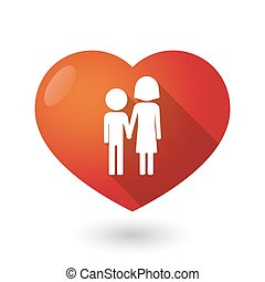 Isolated red heart with a childhood pictogram - Illustration...