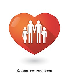 Isolated red heart with a gay parents family pictogram -...