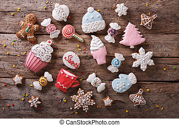 Christmas gingerbread in pastel colors Horizontal top view -...