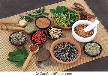 Herbal Health for Men - Herb and spice selection used in...