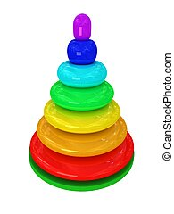 Toy pyramid over white background