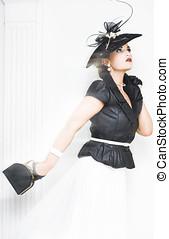 Woman Running Late - Stunning fashionable woman wearing...