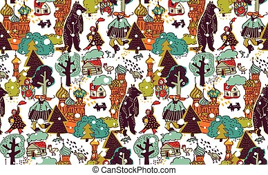 Russia people and landscapes color seamless pattern.