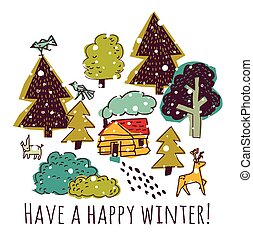Winter greeting color card with sign and snow.