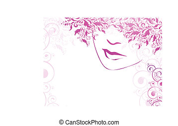 woman - abstract illustration of woman face with floral...