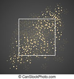 Gold sparkles and stars with white frame on black...
