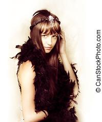 Retro showgirl in feather boa - Cute retro showgirl in a...