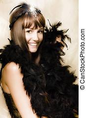 1920s Vintage Cabaret Girl - Happy Smiling Vintage Cabaret...