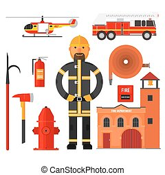 Firefighting character Flat style. Elements for infographic.