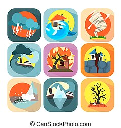 Natural disaster catastrophe and crisis flat set vector -...
