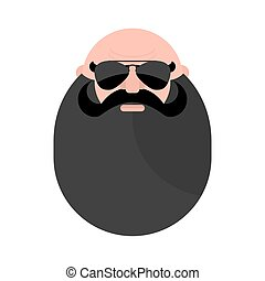 Head of  mustachioed biker with beard. Brutal man. Stern grandfather wearing sunglasses.
