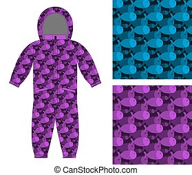 Childrens apparel template. Jumpsuit with pattern of fish....