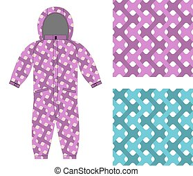 Kids overalls. Set of seamless pattern interlocking Web. Children's clothing template and color textures for fabrics.