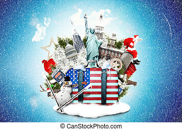 USA, landmarks of the USA in winter and Christmas