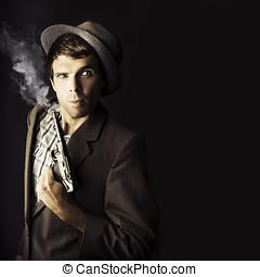 Dangerous Business Man Holding Gun