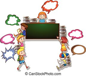 Children reading books and writing on board