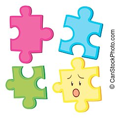 Jigsaw puzzle in four pieces illustration