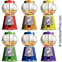 Bubble gum machine in different colors illustration