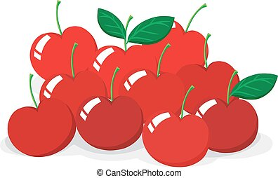 Red cherries with stem