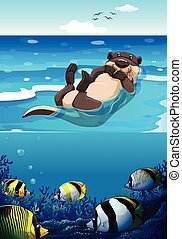Sea otter swimming in the sea illustration