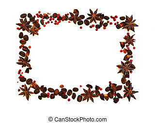 spice border with anise, coffee beans and red pepper against...