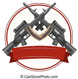 Logo design with fireguns