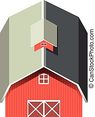 Red barn with gray roof