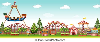 Amusement park with many rides illustration