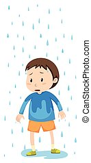 Boy standing in the rain