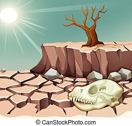 Natural disaster with drought illustration