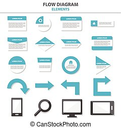 Flow chart elements templates flat design set for brochure...