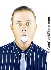 Dumbfounded man silenced by a golf ball - Dumbfounded young...