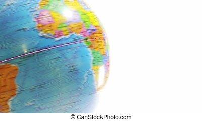 spinning globe on white background Education