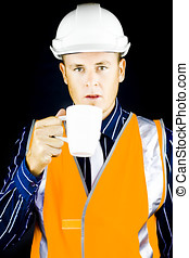 Construction worker having coffee - Construction worker,...