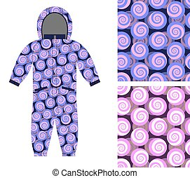 Kids Coverall of abstract spiral pattern. Set snail seamless background. Textures for boys and girls. Children's clothing design template.