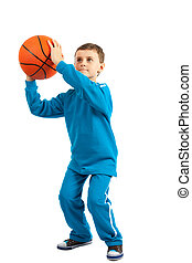 Basketball kid - Adorable kid with basketball isolated on...
