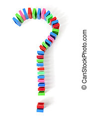 colorful domino bricks in a shape of question mark -...