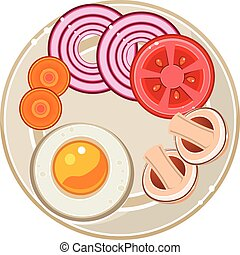 Served Breakfast with Fried Egg and Vegetables. Vector Illustration