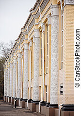 architectural columns on the facade of building